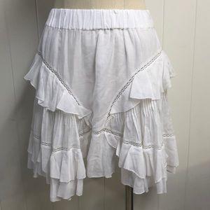 Isabel Marant Etoile White Mini Ruffled Skirt
